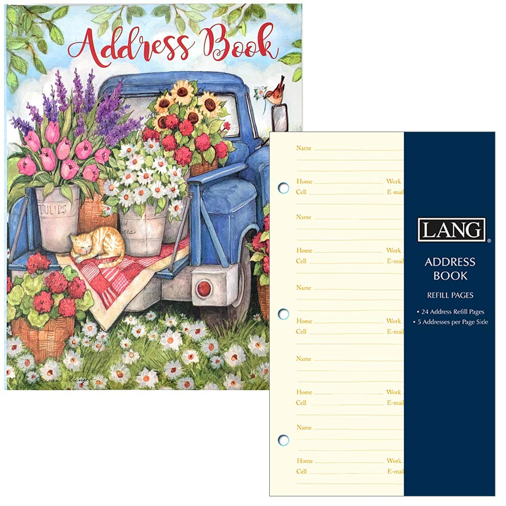 Lang Company Address Book for Women - Floral and Rustic Farm Truck - Three Ring Binder with Tabs - Holds 600 Addresses - Includes Refill Pages for 240 More Addresses by Lang Company