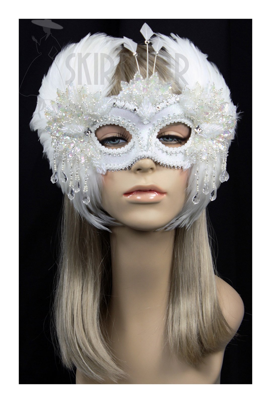Handmade in the USA Masquerade Mask with Feather Wings (White)