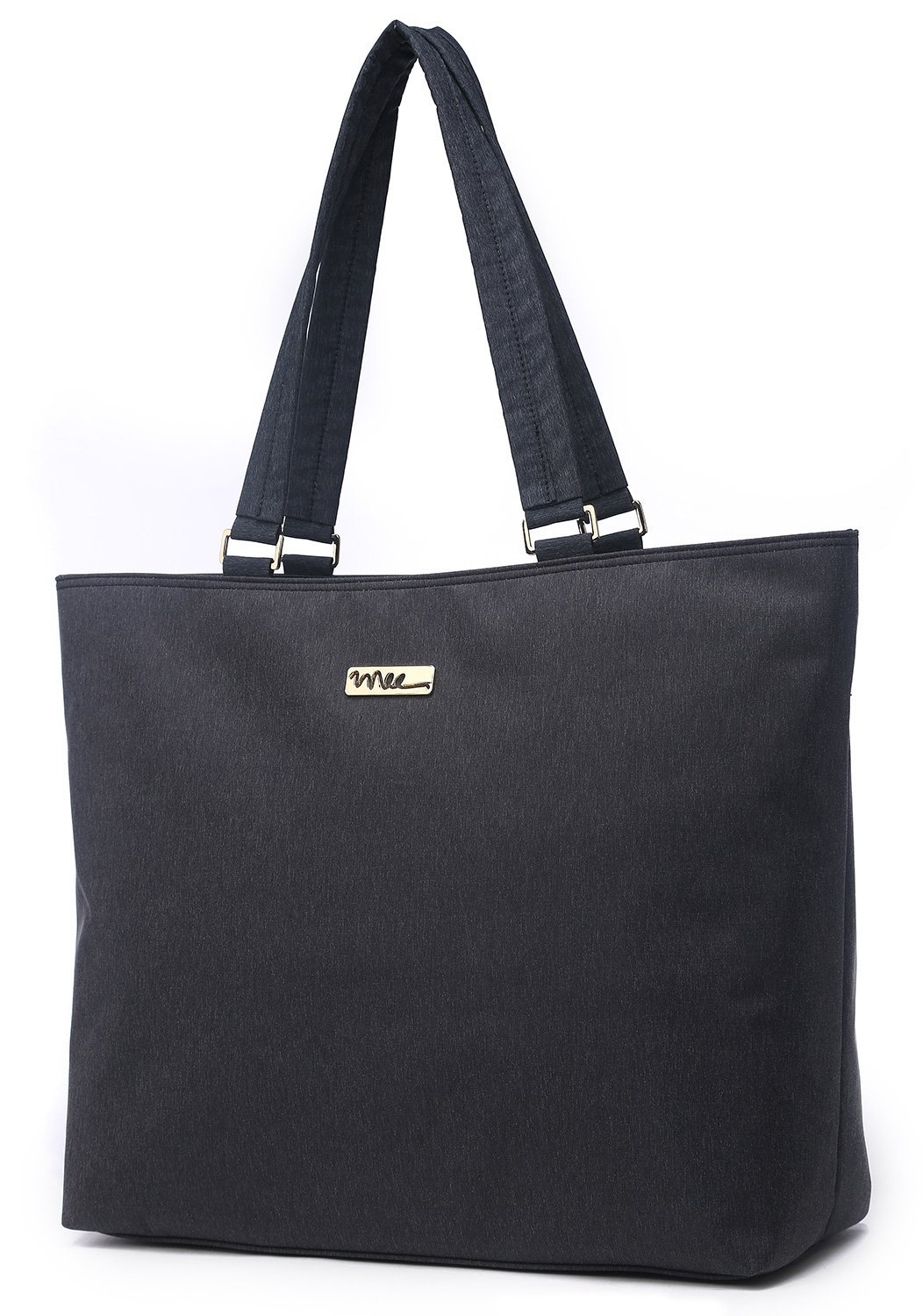 NNEE 15 15.6 Inch Water Resistance Nylon Laptop Tote Bag Computer Travel Carrying Bag - Black Gray