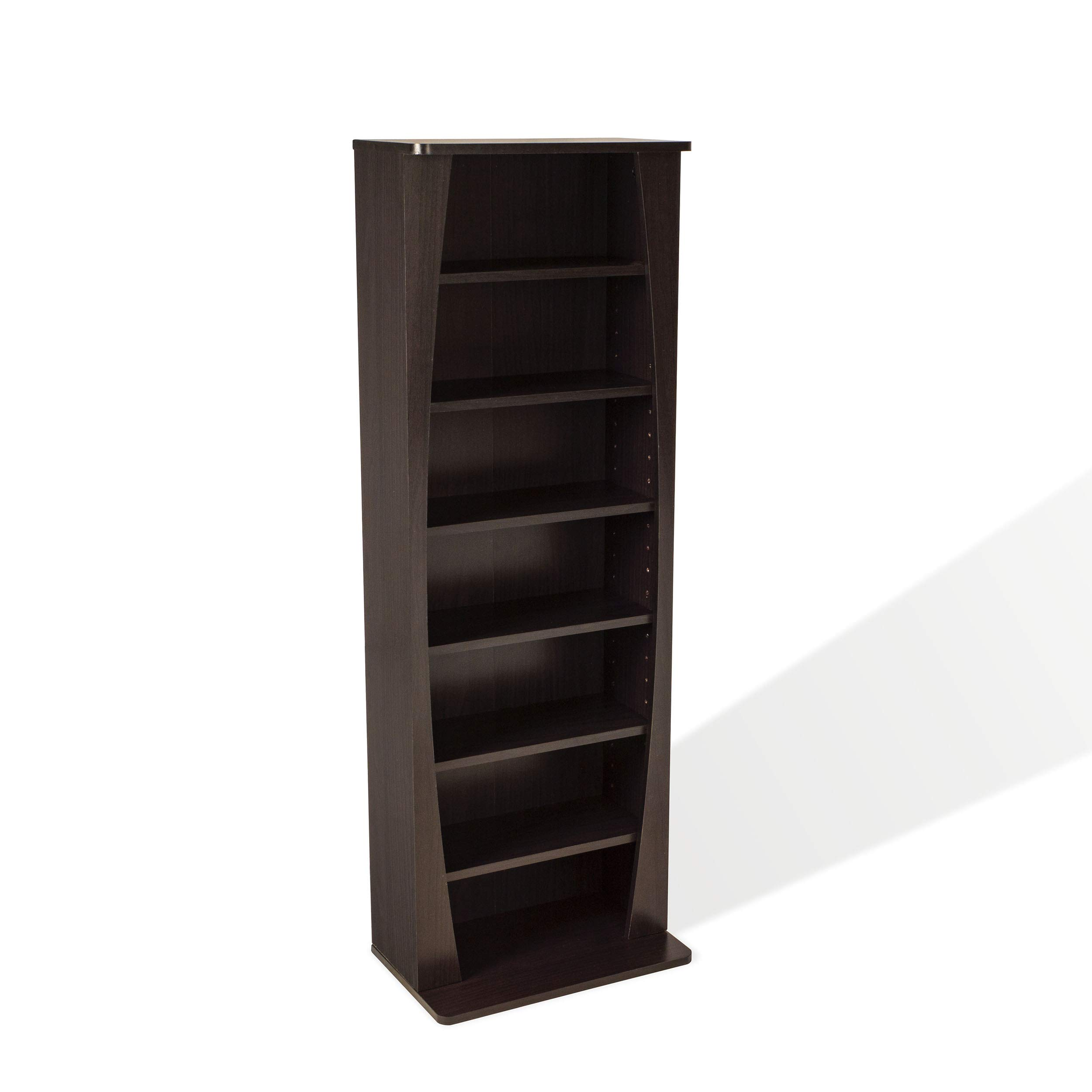 Atlantic Canoe Curved Multimedia Cabinet - Holds 231Cds, 115Dvds or 140 Blu-ray/Games, Adjustable Shelves, PN22535717 in Espresso by Atlantic