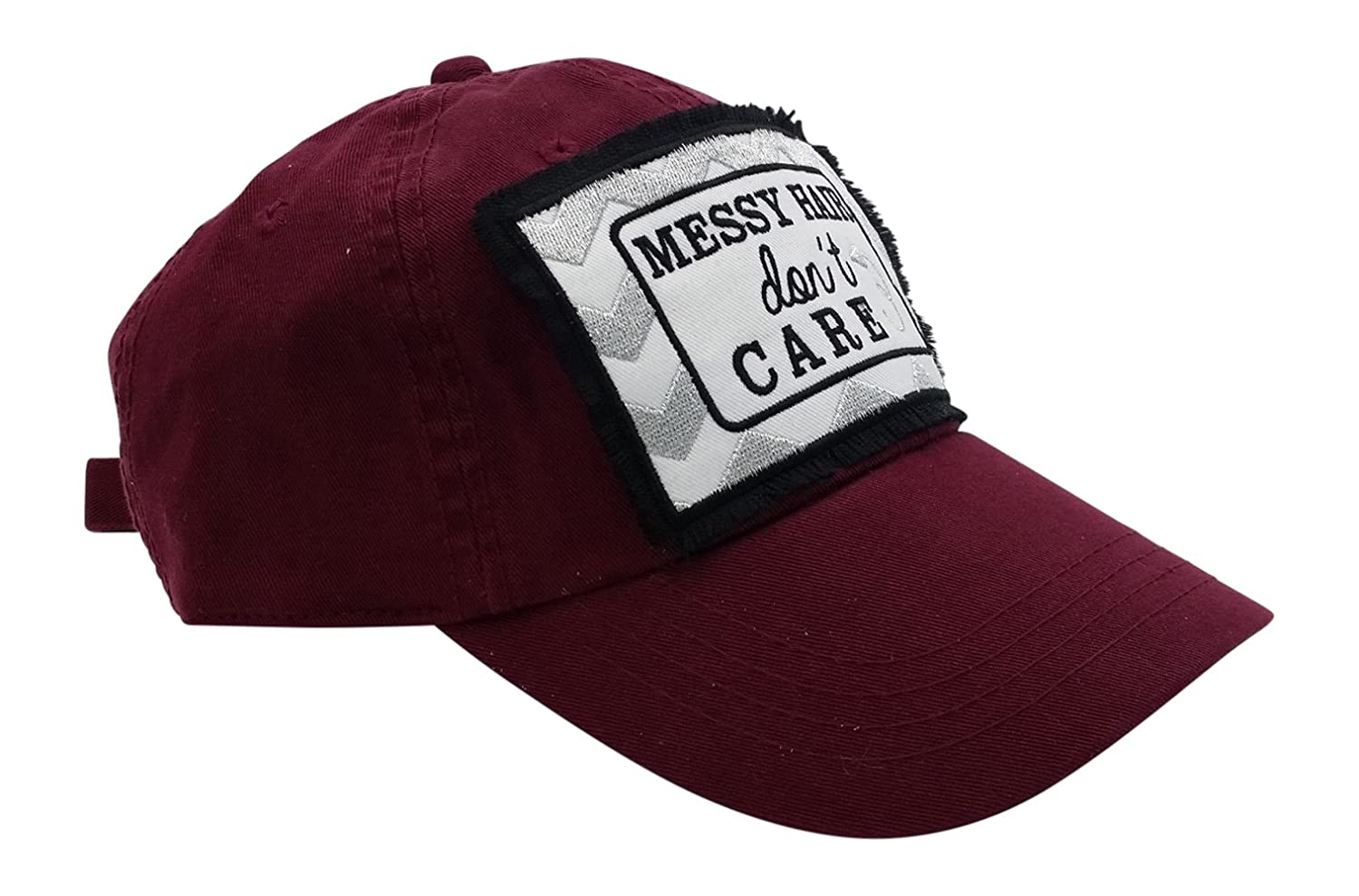 67670f6135241 Amazon.com  Loaded Lids Messy Hair Don t Care Embroidered Patch Baseball Cap  (Pink