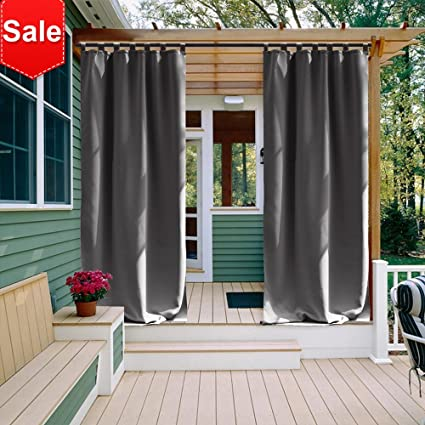 NICETOWN Outdoor Curtain Panel 108 Inches Long Thermal Insulated Tab Top Blackout Indoor Window