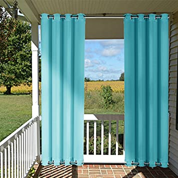 Outdoor Curtain Panel For Patio   NICETOWN Versatile Thermal Insulated Top  And Bottom Grommets Blackout Outdoor