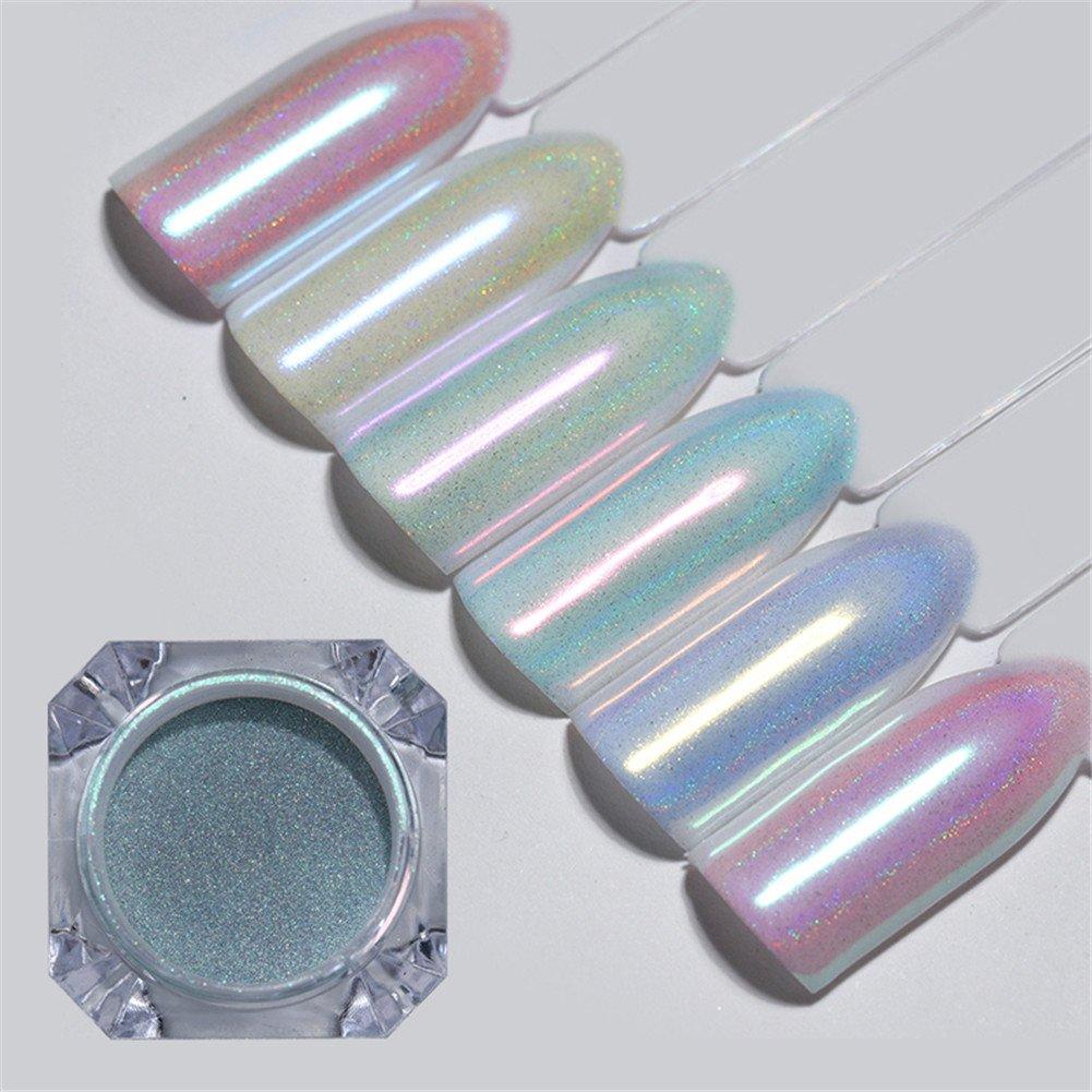BORN PRETTY 6 Colors Nail Art Glitter Holographic Chameleon Unicorn Mermaid Mirror Maincure Powder Iridescent Chrome Pigment Dust Set