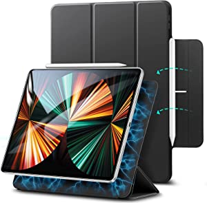 ESR Rebound Magnetic Case Compatible with iPad Pro 12.9 Inch 2021 (5th Generation), Smart Case with Convenient Magnetic Attachment, Auto Sleep and Wake, Pencil 2 Support, and Trifold Stand – Black