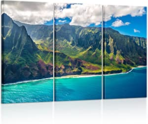 Kreative Arts - Large Nature Art Poster Print on Canvas View on Napali Coast on Kauai Island on Hawaii Landscape Pictures for Office Walls 16x32inchx3pcs