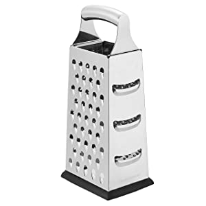 AmazonCommercial Stainless Steel Heavy-Duty Cheese Grater, 4-Sided Box Grater with Non-Slip Base, 9 Inch