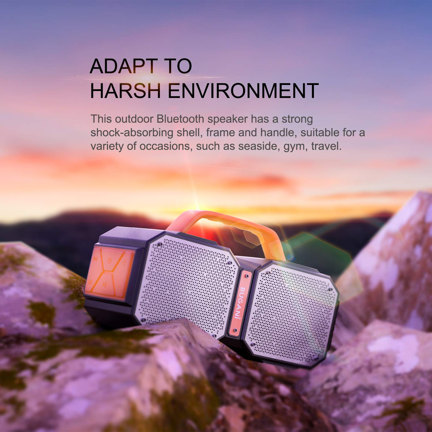 Bluetooth Speakers, Waterproof Outdoor Speakers Bluetooth 5.0,40W Wireless Stereo Pairing Booming Bass Speaker,2400 Minutes Playtime with 8000mAh Power Bank, Durable for Home Party,Camping(Black) by BUGANI (Image #7)