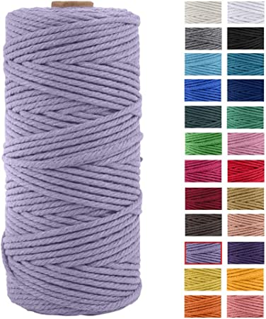 Deep Purple Macrame Cord Macrame Rope Macrame String 3mm//100 Meters Natural Cotton Cord Decorative Twisted Cord Wrapping String Rope DIY Craft Knotting Knitting Cord
