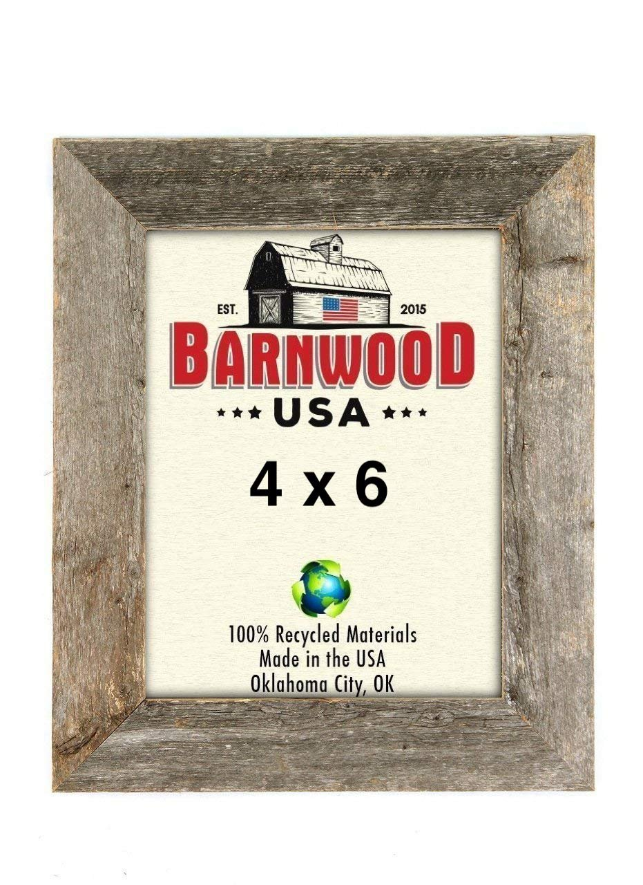 BarnwoodUSA Rustic Farmhouse 1 1/2-Inch Picture Frame - Our 4x6 Picture Frame can be Mounted Horizontally or Vertically and is Crafted From 100% Recycled and Reclaimed Wood   Weathered Gray