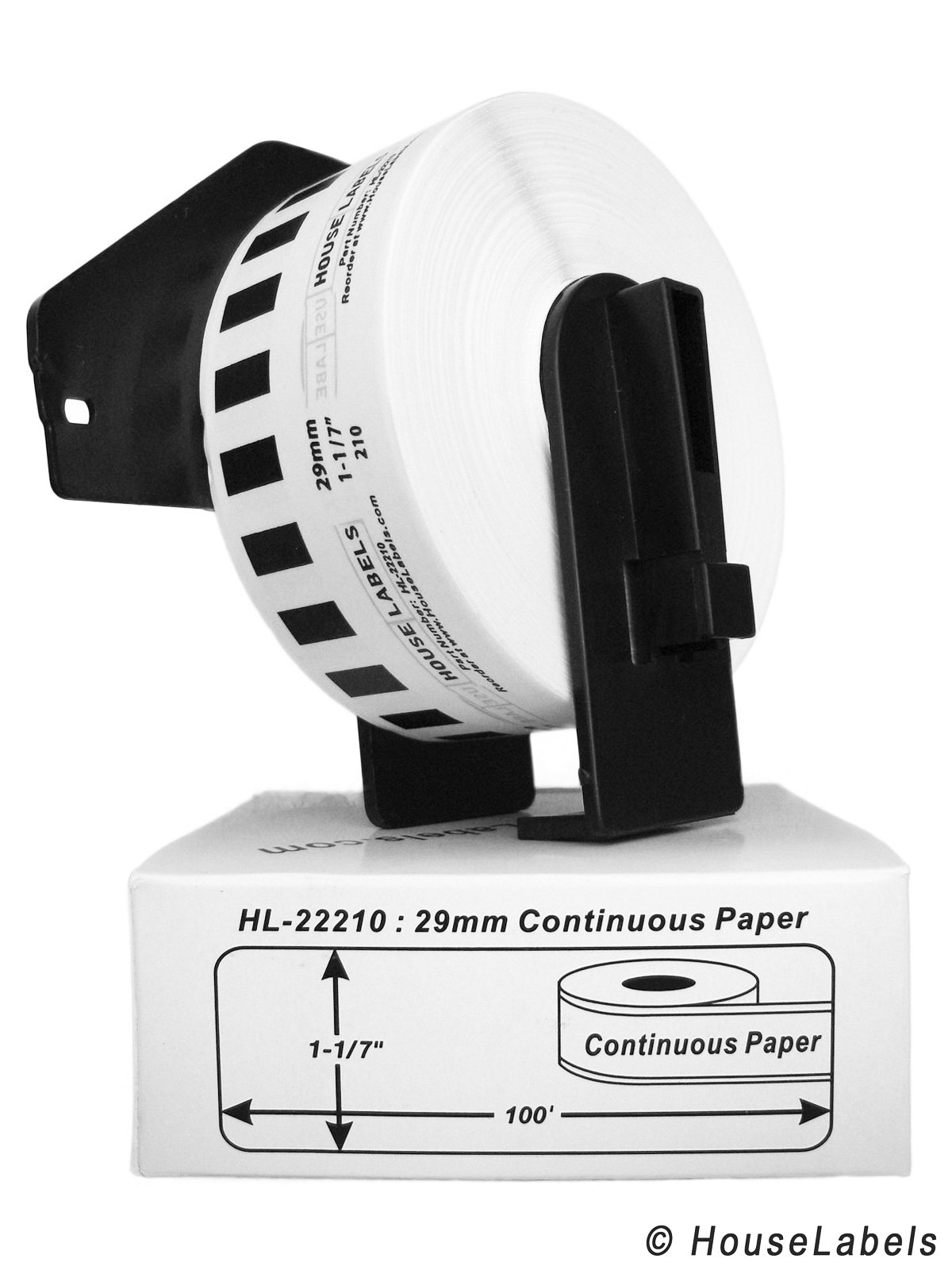 24 Rolls; Continuous Paper, BROTHER-Compatible DK-2210 Continuous Paper Labels with ONE (1) reusable cartridge (1-1/7'' x 100'; 29mm30.48m) -- BPA Free!