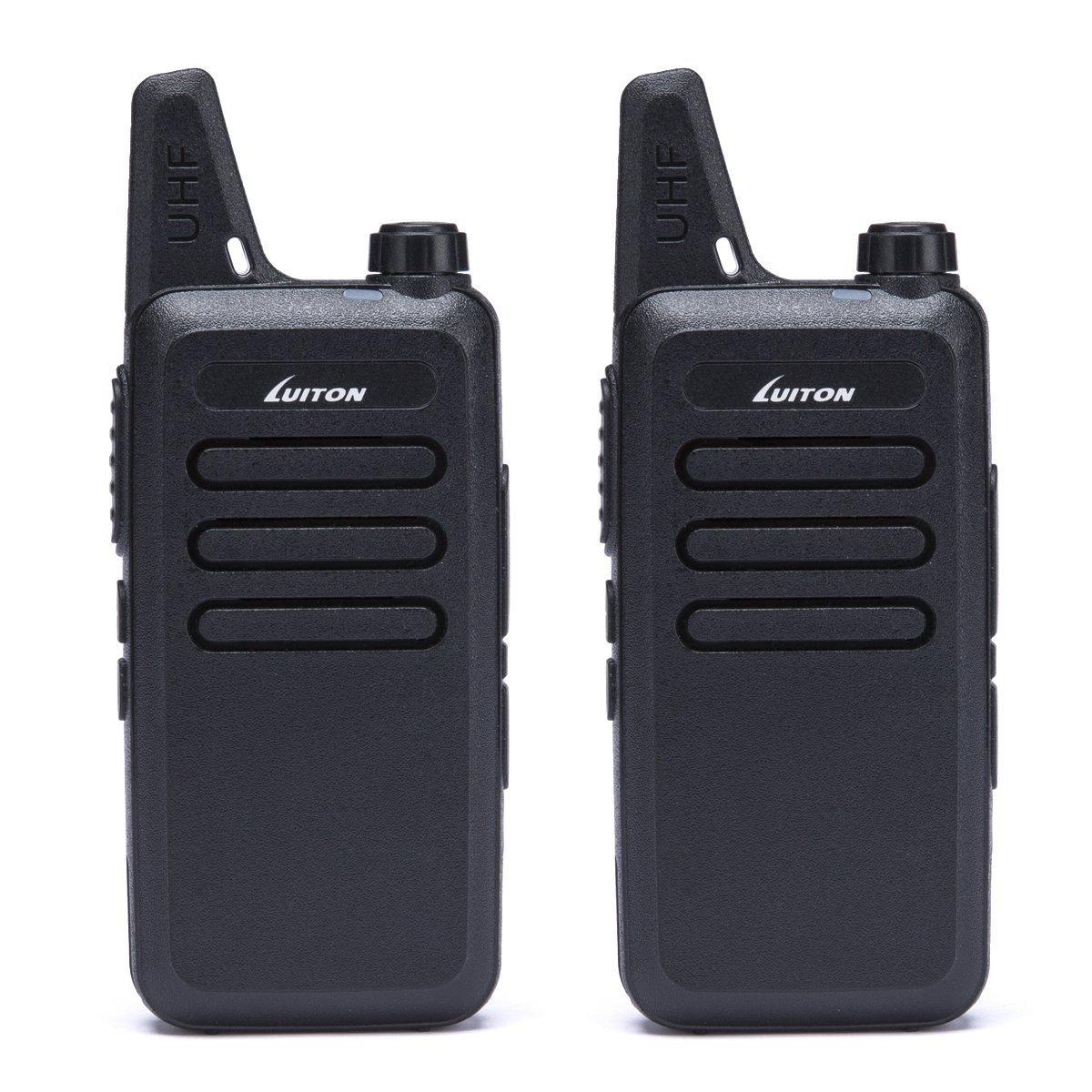 LUITON UHF Walkie Talkies Car Electronics Two-Way Radios For Car Rechargeable Long Range Outdoor Hiking Hunting UHF Walkie Talkies USB Charging Amateur Two Way Radio LT-316 Black (1 Pair)