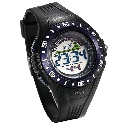 JewelryWe Reloj Digital de Hombre Militar Deportivo Reloj Grande A Prueba de Agua 3ATM Correa de