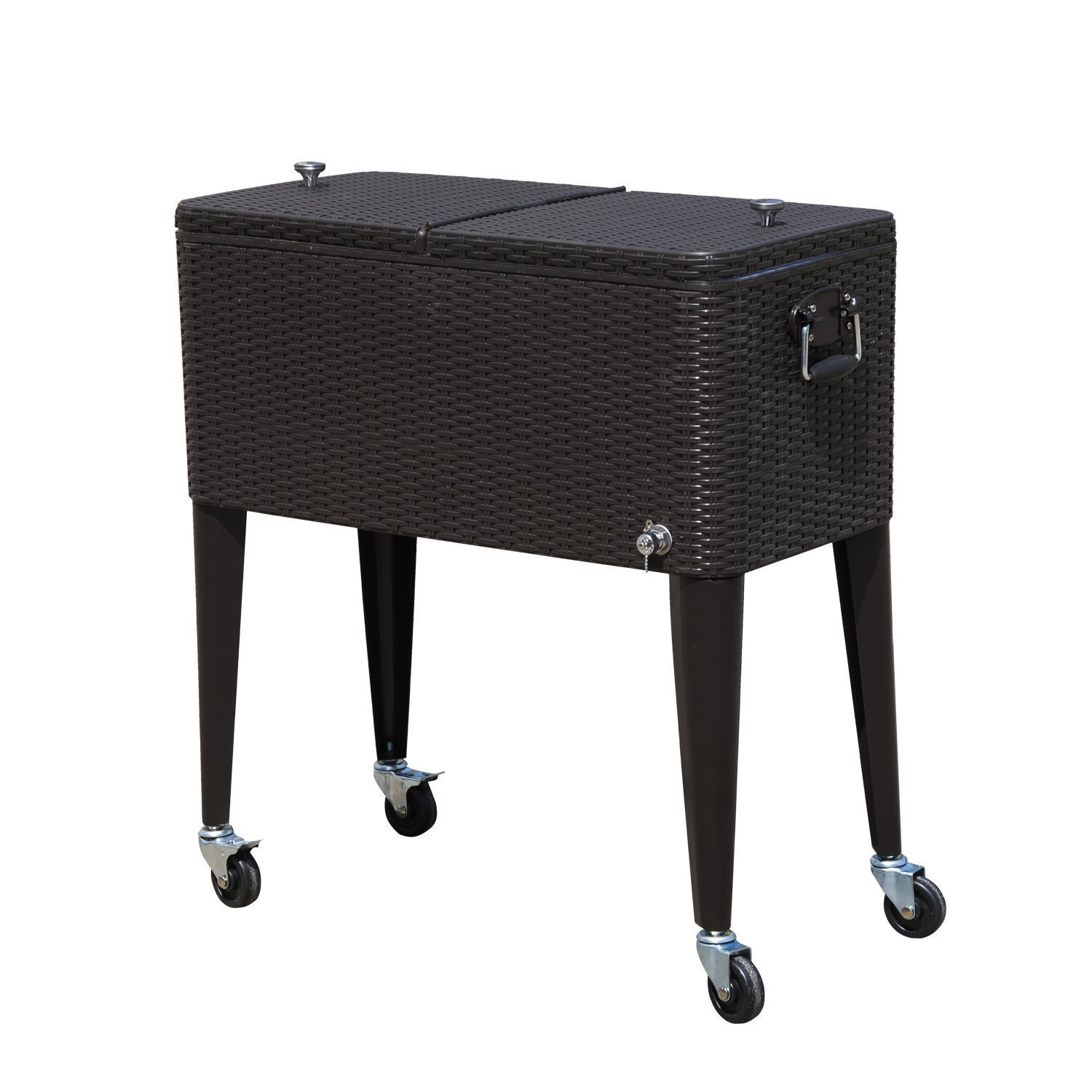Tenive 80-quart Rolling Wheels Ice Chest Portable Patio Party Bar Drink Entertaining Outdoor Cooler Cart - Brown Wicker Pattern