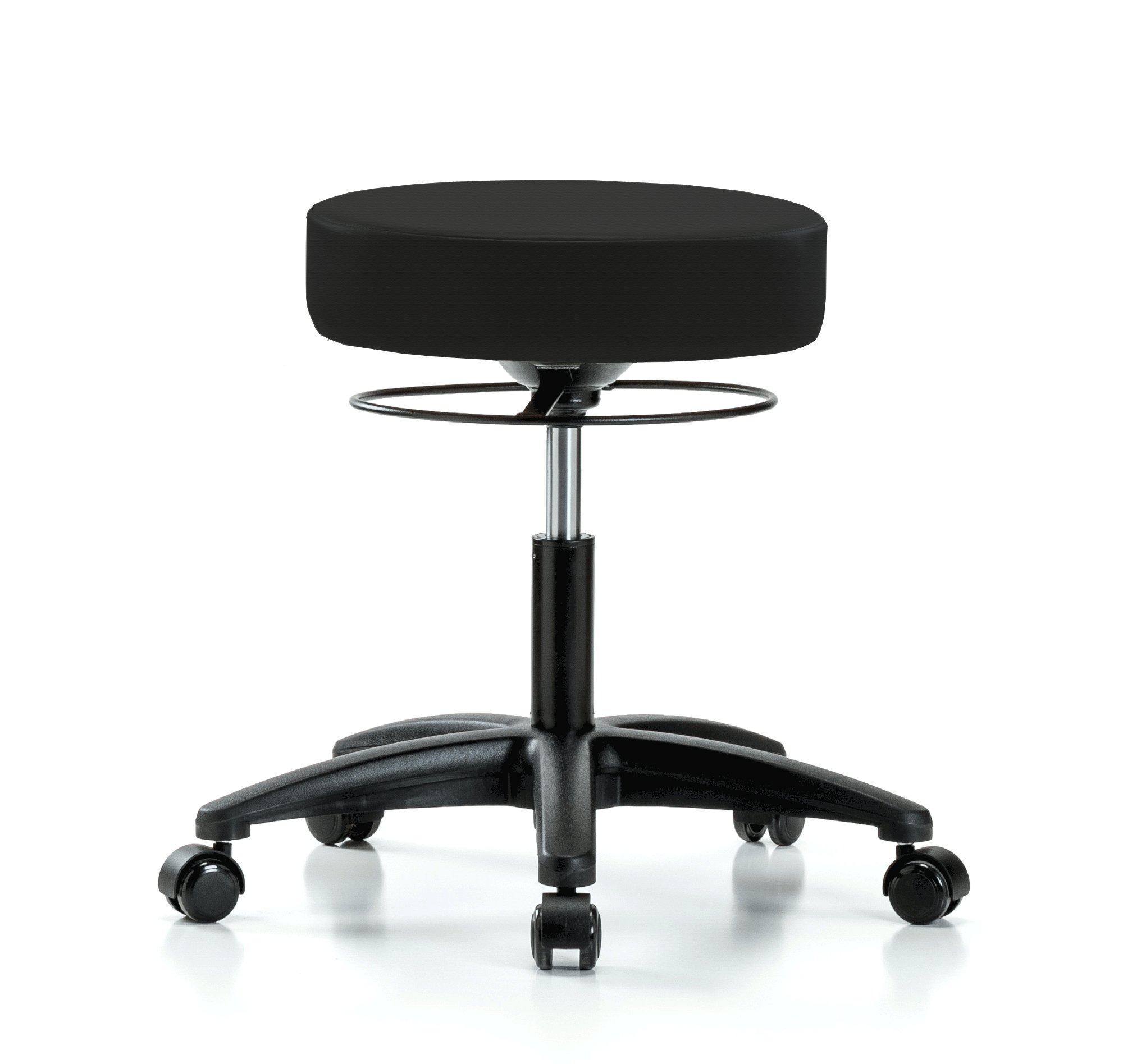 Perch Stella Rolling Adjustable Stool Medical Salon Spa Massage Tattoo Office 18.5'' - 24'' (Soft Floor Casters/Black Fabric)