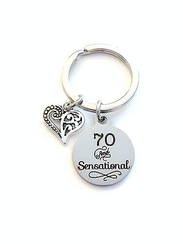 Amazon 70th Birthday Gift For Women Keychain 70 And Sensational Key Chain Wife Sister Best Friend Present Handmade
