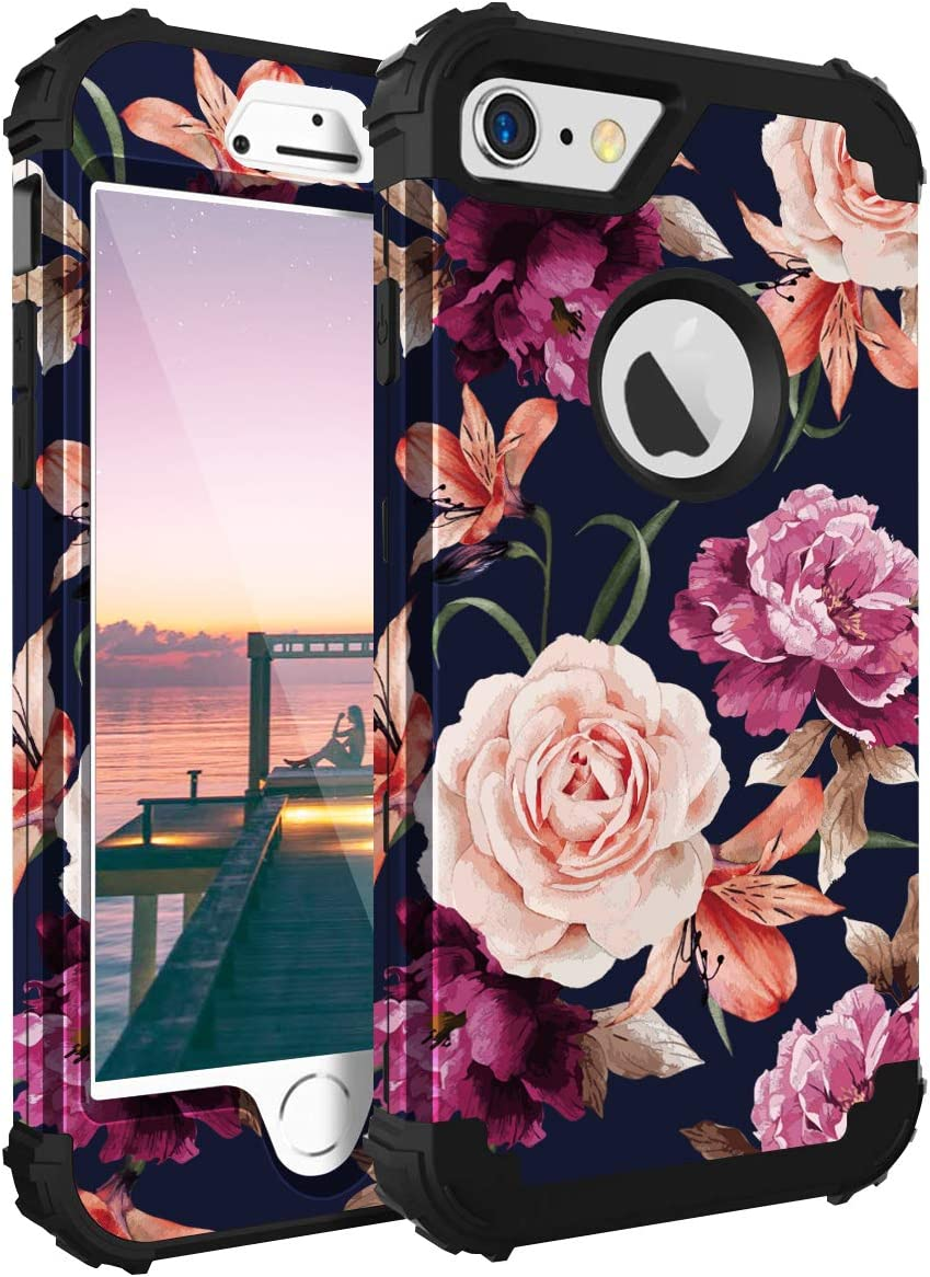 iPhone 6s Case,Casewind iPhone 6 Case Floral Design 3 in 1 Heavy Duty Hybrid Protection PC & Silicone Snug Fit Bumper Shockproof Anti-Scratch Hard Cover iPhone 6 & 6s Case,Navy Blue