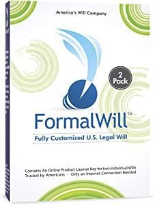 FormalWill Fully Customized U.S. Legal Will Kit 2021 - (Software Key) Valid in Every State – 2 Pack for Spouses/Couples.
