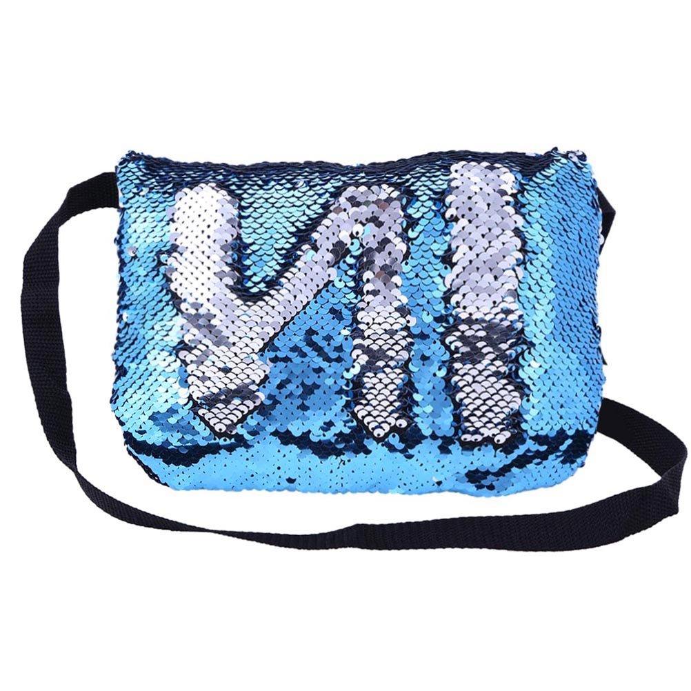 FENICAL Pailletten Glitter Abendtasche Tasche Reversible Kosmetiktasche Handtasche Bling Party Bag (blau und Silber)