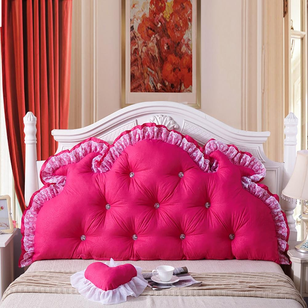 FLHSLY Washable Bedside Big backrest Lumbar Support Cushions Reading Pillows Double People Bedside Cushions Solid Color Cushions, Rose red, 100cm