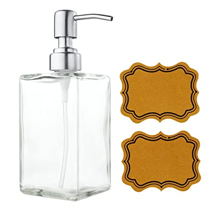 Superieur VCOO Soap Dispenser Bottle With Stainless Steel Pump, Refillable Rectangle  Clear Glass Jar, Great