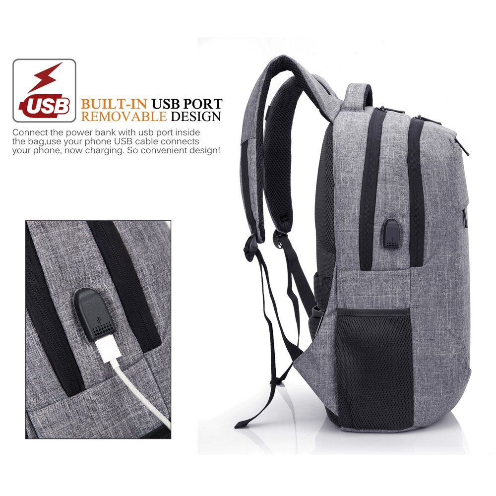 74633ae70ab Amazon.com  CoolBELL 17.3 Inch Laptop Backpack with USB Charging Port  Function Multi-Compartment Travel Rucksack Water-Resistant  Knapsack Protective Day ...