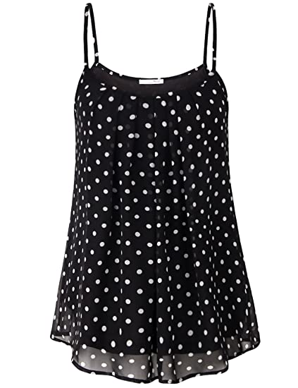 8b3d7c1b6a7c4 Messic Direct Womens Sleeveless Blouses for Leggings Pleated Round Neck  Petite Sleeveless Tops Strap Polka Dot