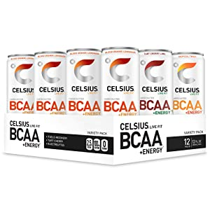 CELSIUS BCAA +Energy Sparkling Post-Workout Recovery & Hydration Drink, Variety Pack, 12oz. Slim Can (Pack of 12)