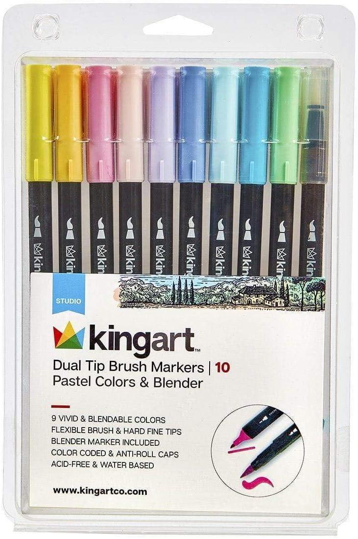 KINGART Markers, Set of 10 Unique Pastel Colors & Blender Dual Tip Brush Pen, 10 Piece