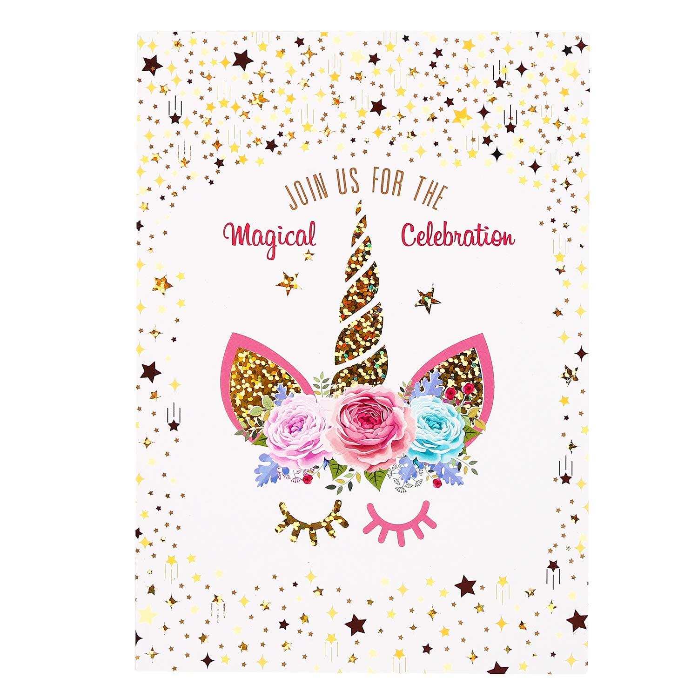 24 Unicorn Invitations Large Set Golden Shine Unicorn Face with 24 Envelopes Double Sided