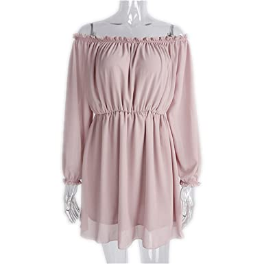 8fc797b75f3c7 Chiffon Women Boho Clothing Hippie Chic Party Evening Vestidos Pink ...