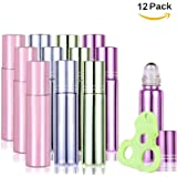 Olilia Glass Roll on Bottles with Metal Roller Balls - Essential Oils Key included 12 Pack of 10ml(1/3oz) Mixed Color