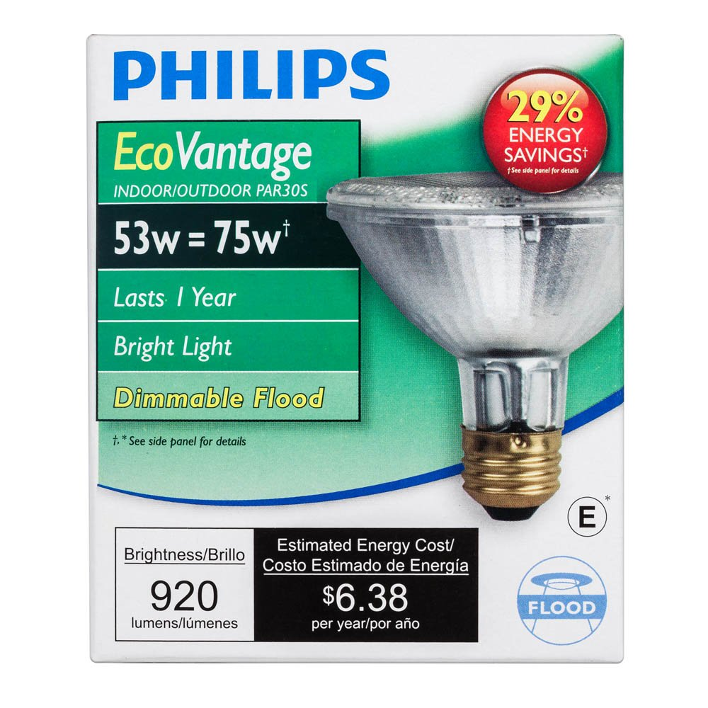 Philips Halogen Dimmable PAR30S Flood Light Bulb: 2860-Kelvin, 53-Watt (75-Watt Equivalent), E26 Medium Screw Base, - Incandescent Bulbs - Amazon.com