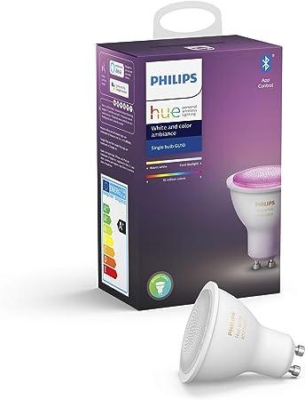Philips Hue Bombilla Inteligente LED GU10, con Bluetooth, Luz Blanca y Color, Compatible con Alex...