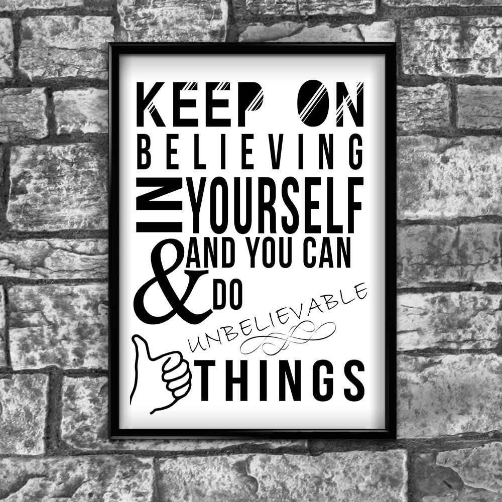 Motivational Inspirational Positive Believeing in You Quote Poster Print Wall 20 by Inspired Walls® Inspired Walls®