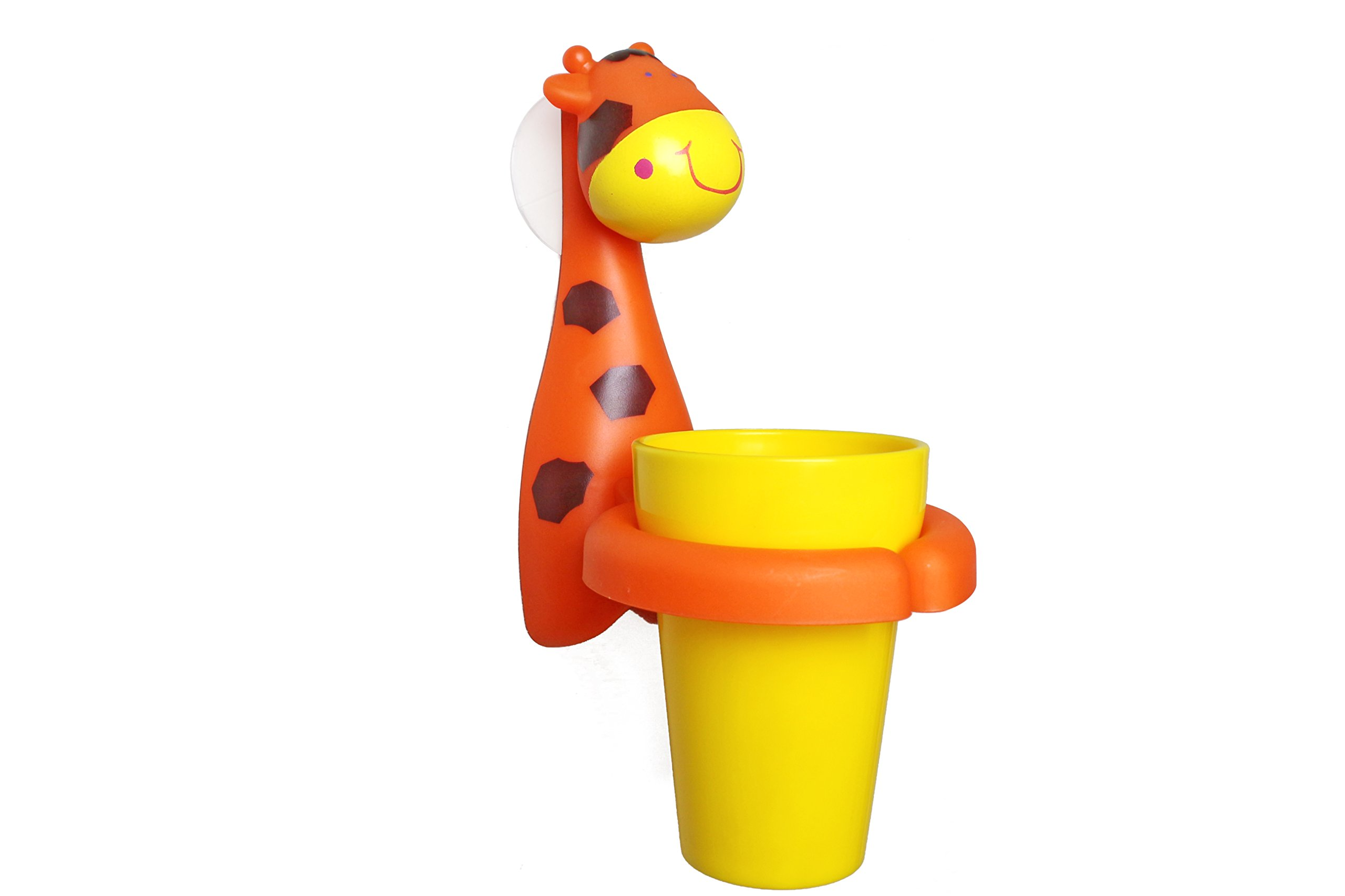 Excelity Cute Animal Child Kid Toothbrush Set with Toothbrush Rinse Cup and Holder (Giraffe)