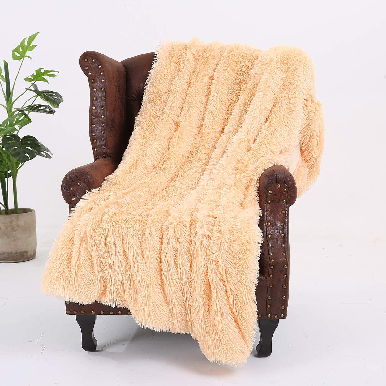 150 x 200 cm esponjoso pelo largo para decoraci/ón de sof/á y cama latte, doble Manta de pelo sint/ético supersuave con dise/ño de rayas de vell/ón de cristal
