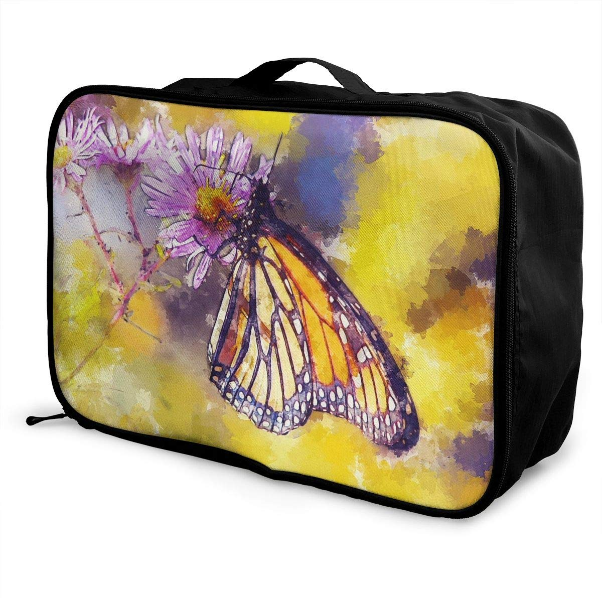 Butterfly FLOWER Natural Painting Travel Lightweight Waterproof Foldable Storage Carry Luggage Large Capacity Portable Luggage Bag Duffel Bag