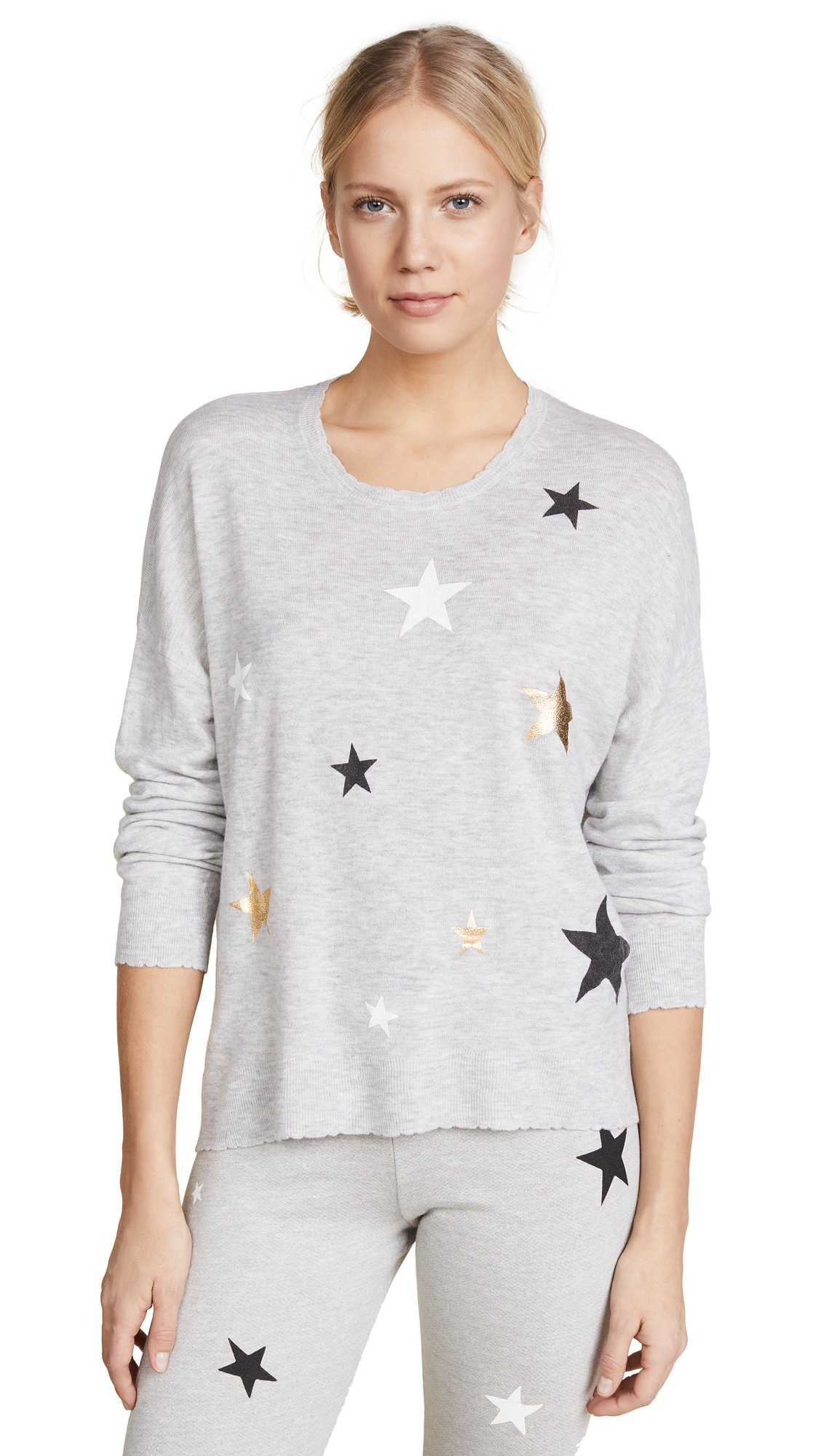 Sundry Women's Cashmere Blend Stars Sweater, Heather Grey, 3 by SUNDRY