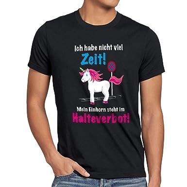 style3 Keine Zeit Einhorn im Halteverbot Herren T-Shirt Mein Unicorn steht  Parken Spruch,