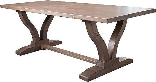 Amazon Com Vera Trestle Dining Table 72 L X 37 W Barn Wood Finish Tables