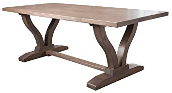 Amazoncom Vera Trestle Dining Table L X W Driftwood - 72 trestle dining table