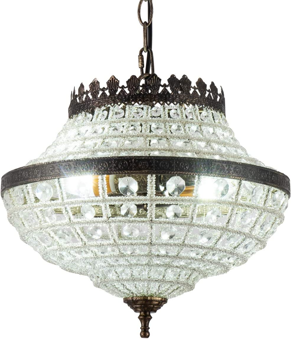 Vintage K9 Crystals Chandelier Classic Pendant Light Fixture for Living Room Entry Dining Room Staircase, Cone