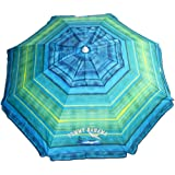 Tommy Bahama Sand Anchor 7 feet Beach Umbrella with Tilt and Telescoping Pole (Green/Blue Stripe)