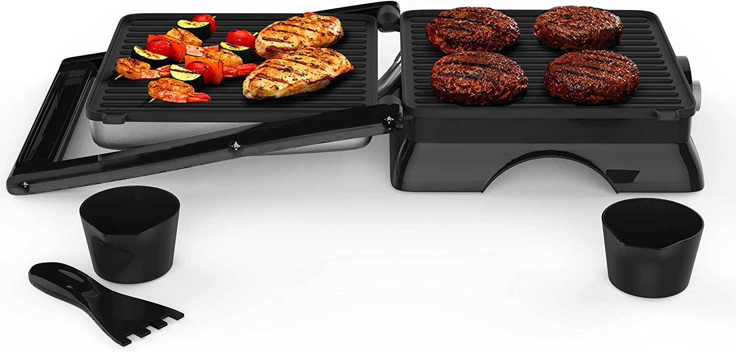 Chef Buddy 82-SW73 Panini Press Indoor Grill and Gourmet Sandwich Maker, Electric with Nonstick Plates, 12.75 x 11 x 4.75 , Silver