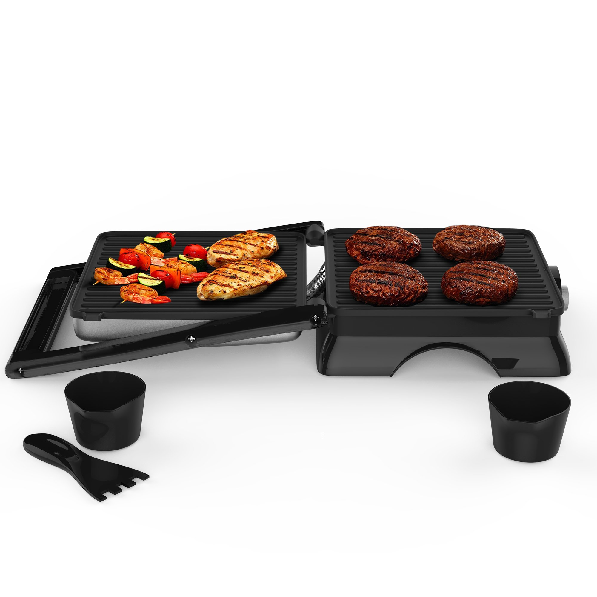 Panini Press Indoor Grill and Gourmet Sandwich Maker, Electric with Nonstick Plates by Chef Buddy