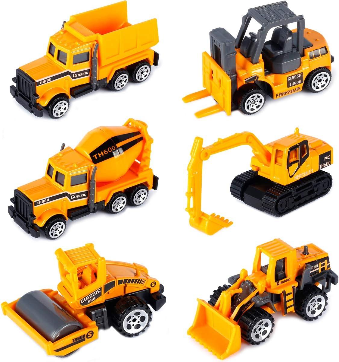 Dreamon Camiones de Construcción Mini Coches Escala 1:72 Juguetes de Colección para Años (Pack de 6)