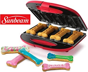 Sunbeam Gourmet Dog Treat Maker Non-Stick Electric Bone-Shape Recipe Pet Biscuit