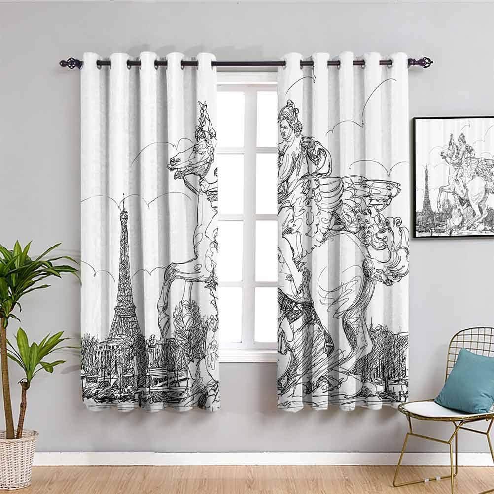 Cortinas de decoración antigua para dormitorio paisaje urbano europeo Francia escultura histórica cría caballo Torre Eiffel Cafe cortina negro blanco W63 x L45 pulgadas