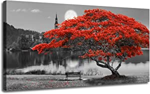 """Canvas Wall Art Prints Red Tree Lake Moon Picture One Panel Large Size, Modern Framed Panoramic Landscape Artwork Painting for Home Office Living Room Bedroom Mural Décor, Stretched and Framed 48""""x24"""""""